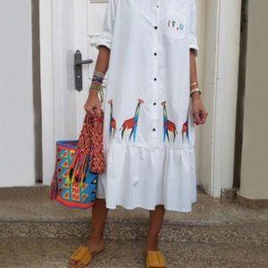 Light Weight Shirt Dress With Ruffle Hemline M,